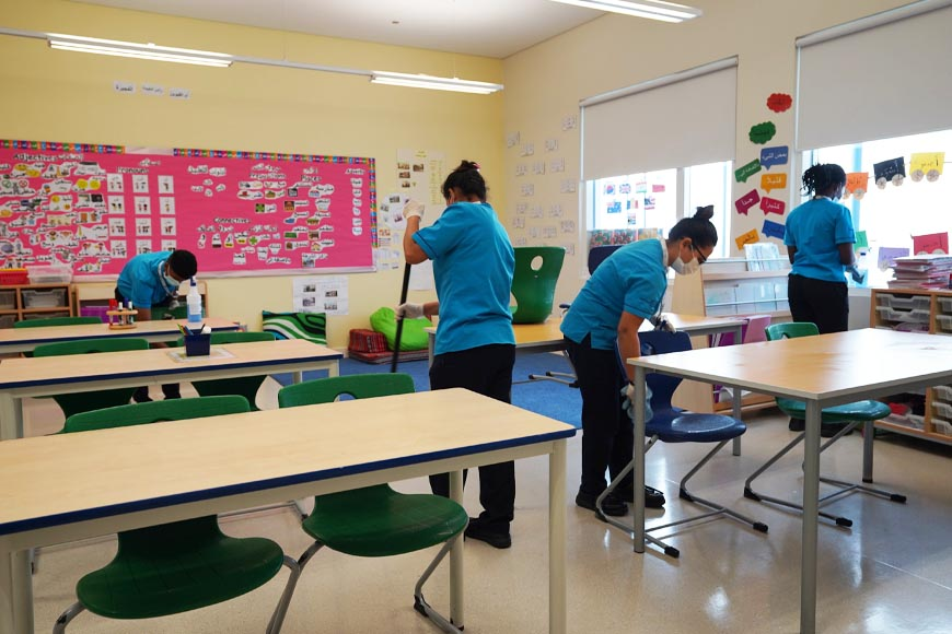 Sterilising Dubai schools to prevent spread of Coronavirus in Dubai and UAE