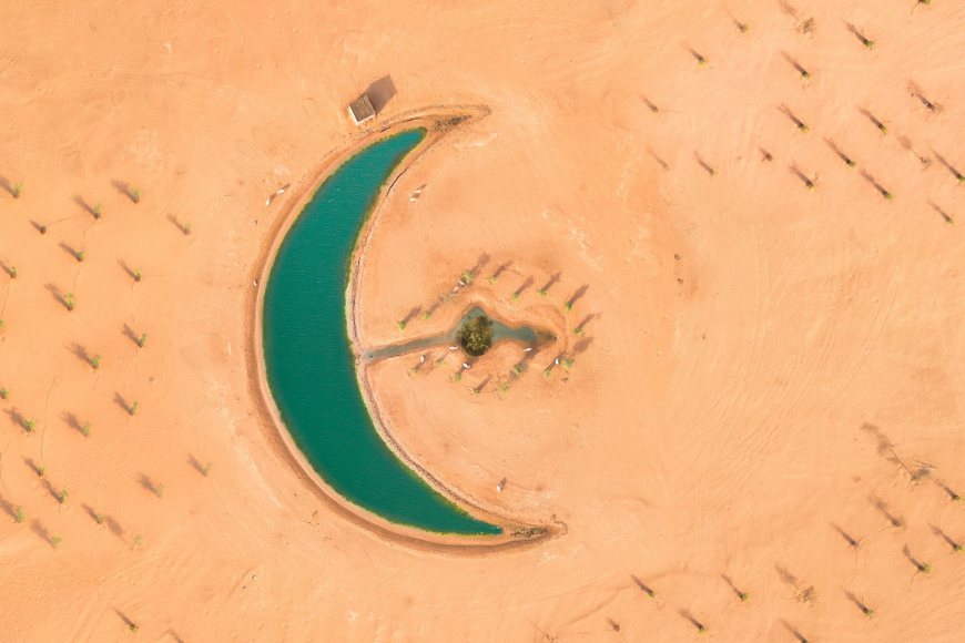 Crescent moon shaped lake in Dubai