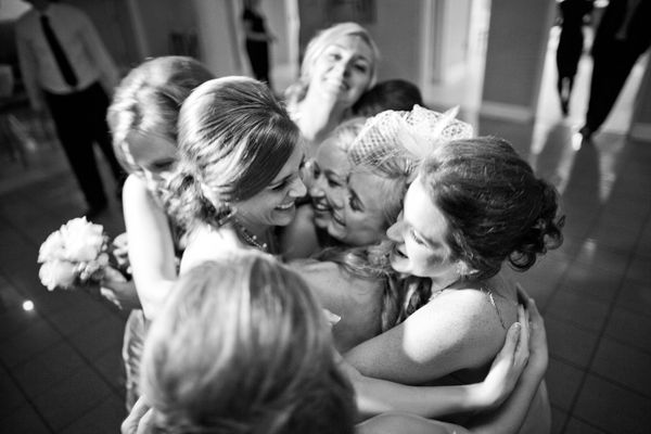 End of the night bridal party hug