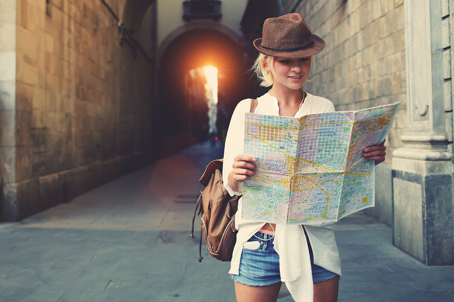 tourist with a map