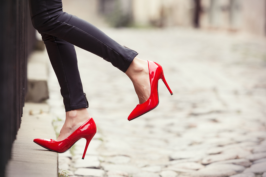 How to wear red heels to work