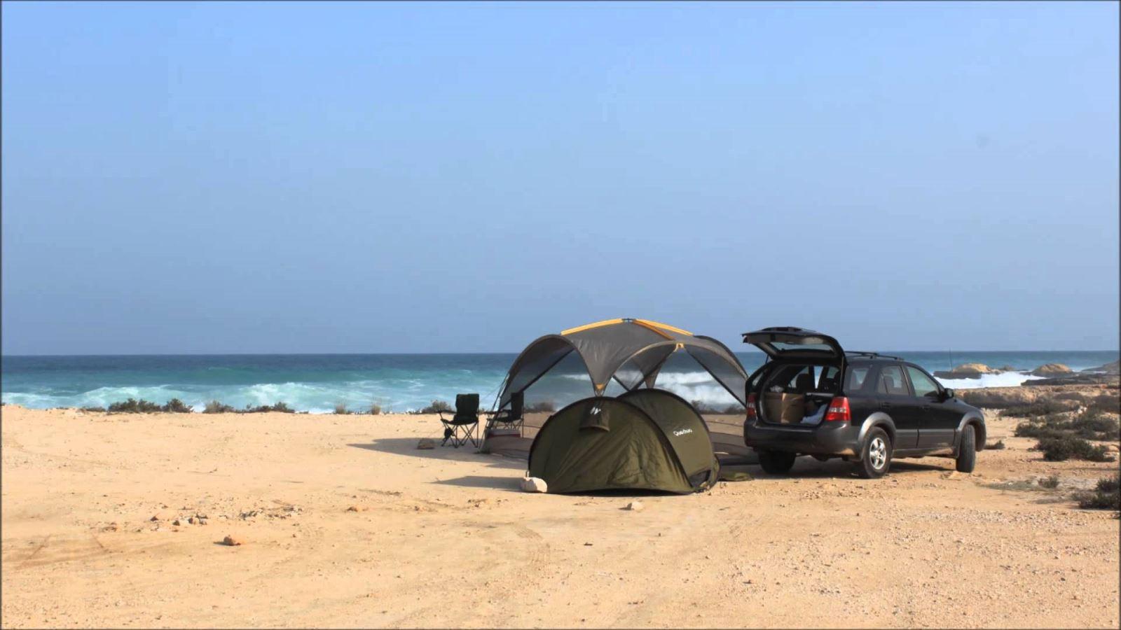 Beach camping in Oman