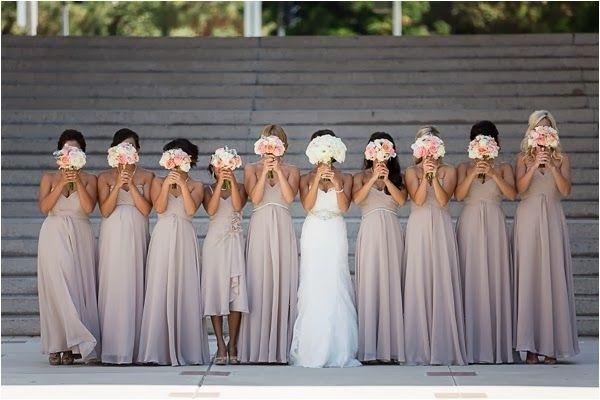 Hiding behind flowers wedding photo
