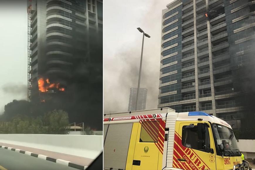Dubai Marina's Zen Tower on Fire