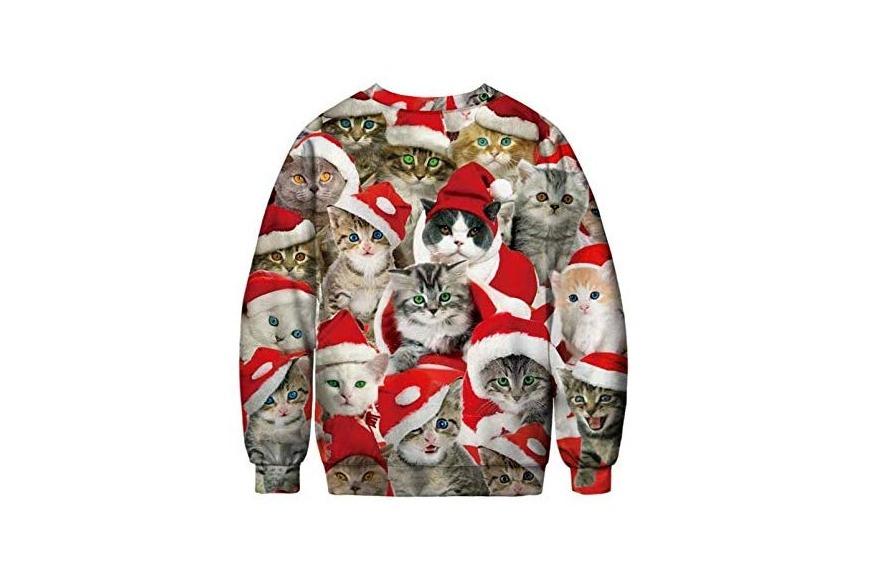 Santa cat Christmas sweater