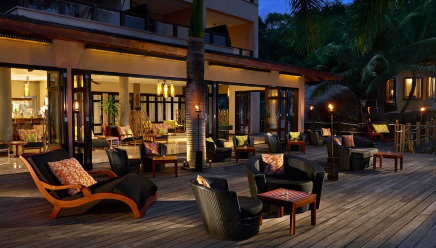 DoubleTree Allamanda's bar and decking area at night