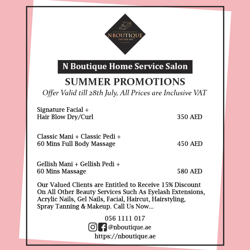 Offers: Summer Beauty Treatments at NBoutique Home Service Salon in Dubai