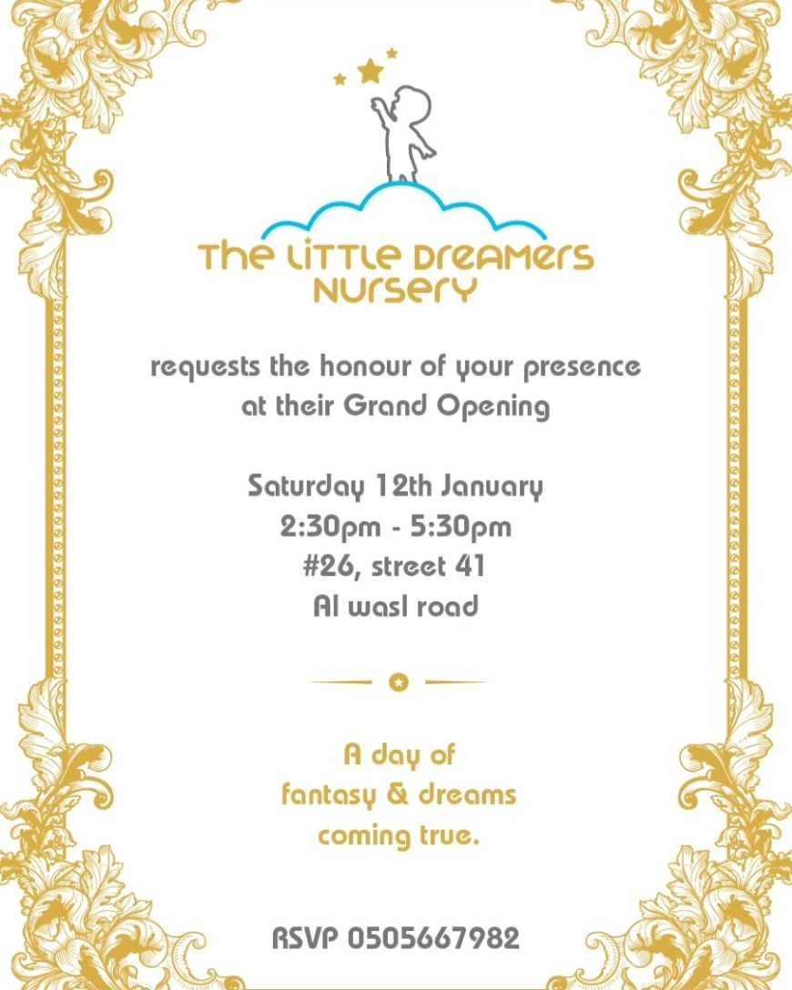The Little Dreamers Nursery Grand Opening Saturday 12th January