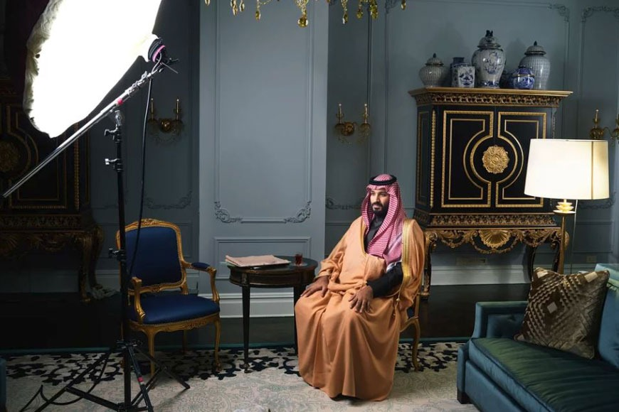 Crown Prince Mohammed bin Salman being photographed by the TIME Magazine