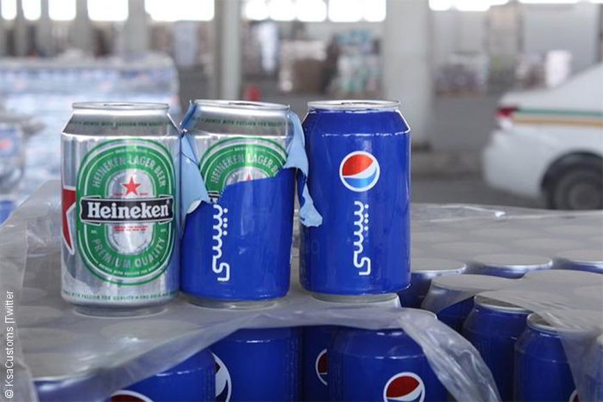 Beer that was confiscated after being imported into Saudi Arabia