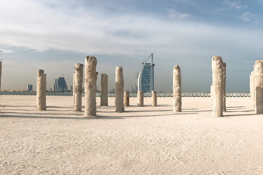 The best beaches in Dubai to visit - Burj Beach in Dubai and Burj Beach Pillars