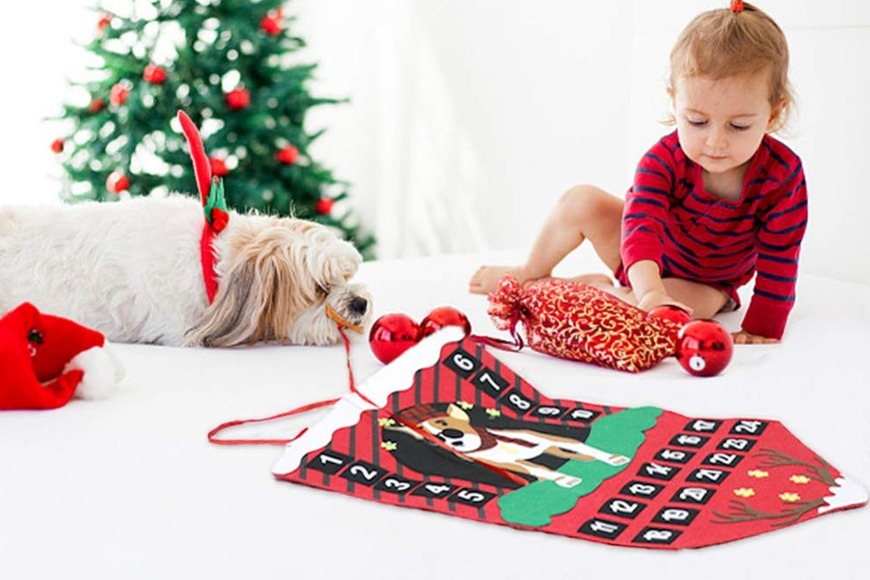 Dog felt Christmas advent calendar