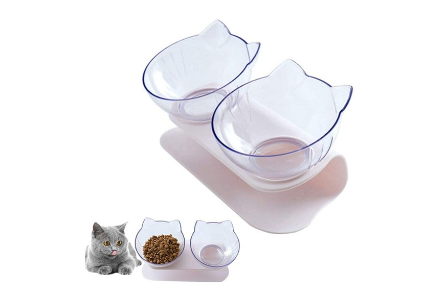 Mumoo Bear Double Cat Bowl with Raised Stand