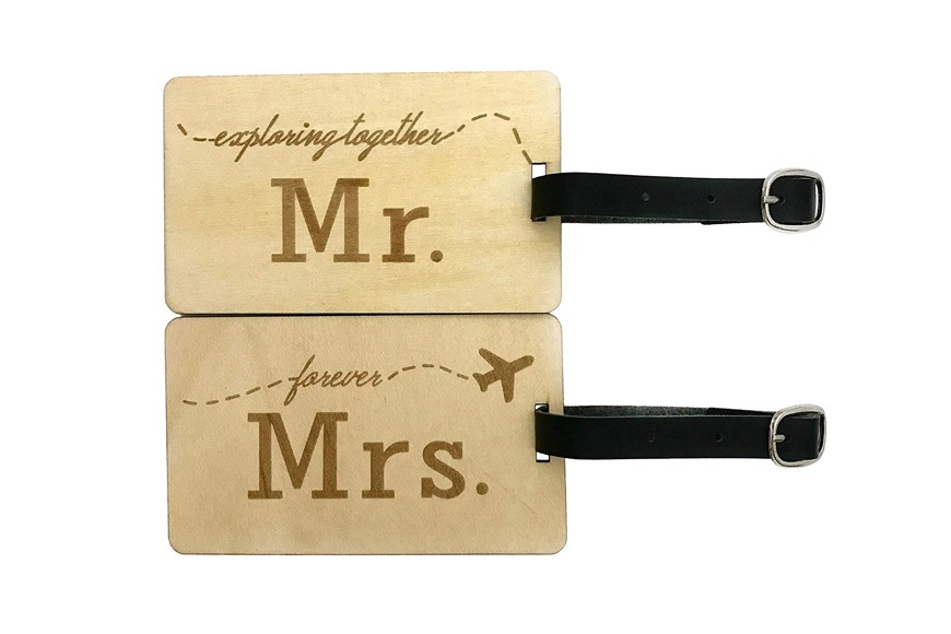 Mr and Mrs Wooden Luggage Tags