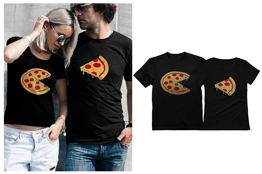 Missing piece pizza and slice couples shirts