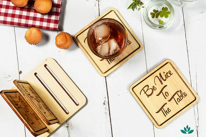Be Nice to the Table Bamboo Coasters