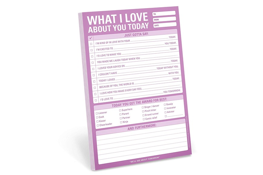 What I Love About You Checklist Note Pad
