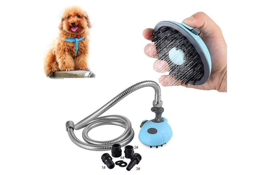 Pet shower sprayer and scrub