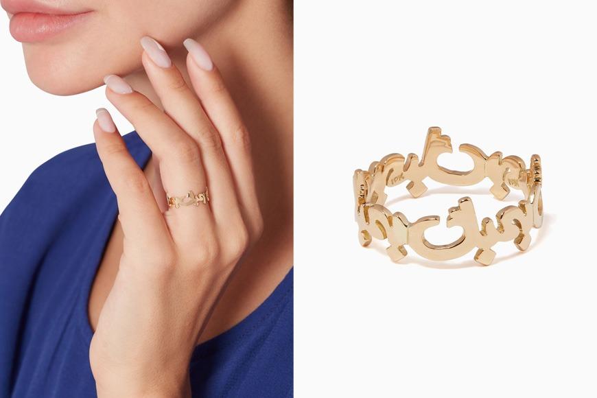 Arabic gold ring on Ounass
