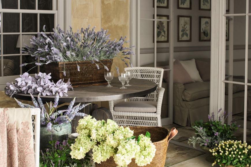Faux lilac stems, faux hydrangea panicula stems and faux clover plants