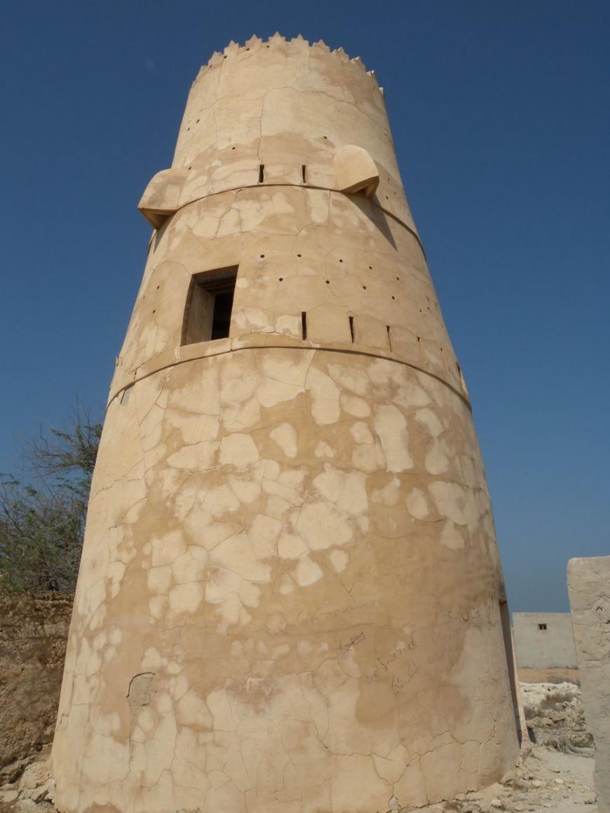 Typical RAK watchtower in the abandoned village of Al Jazeera