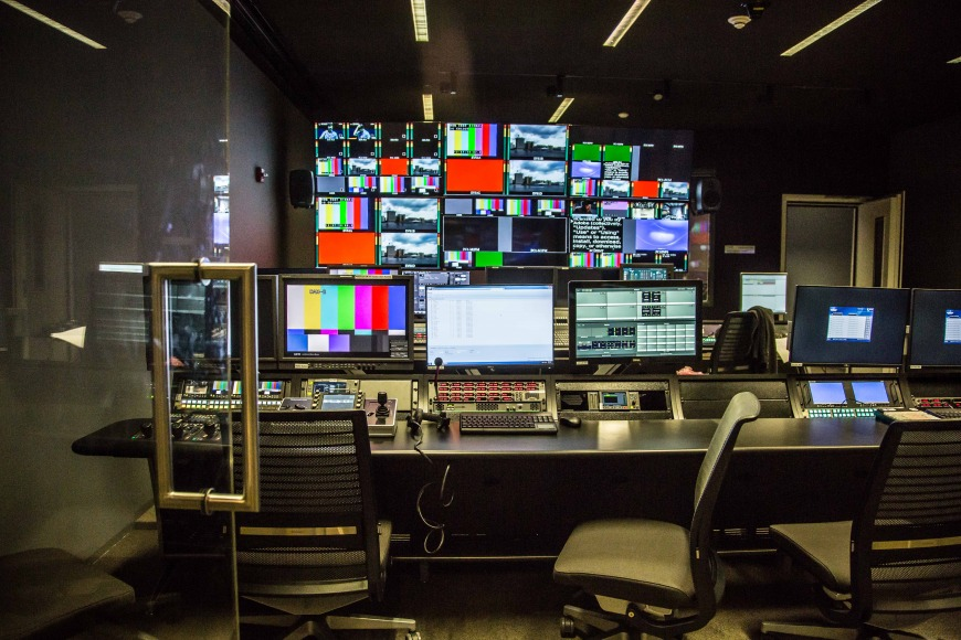 Media room in Northwestern University in Qatar's new building.