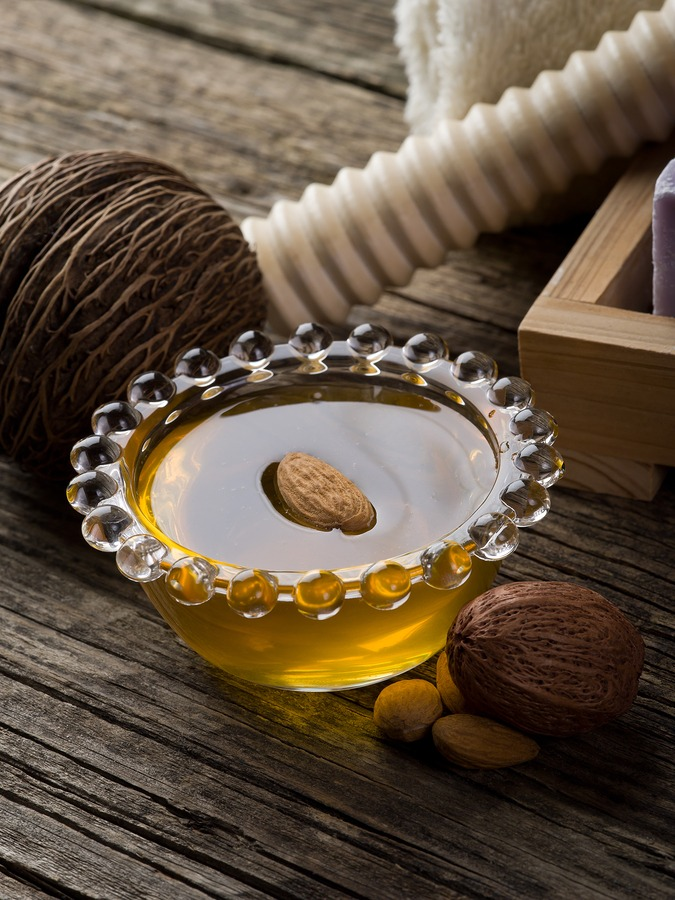 Almond oil helps combat stretch marks by promoting elasticity