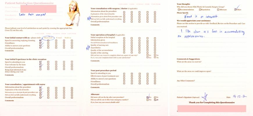 Patient Feedback Forms