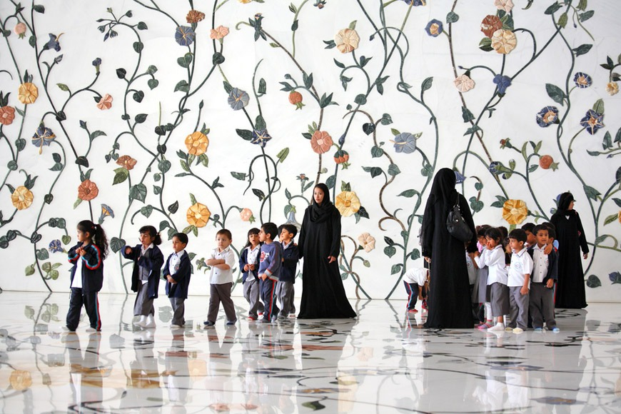 Children touring the Sheikh Zayed Grand Mosque in Abu Dhabi