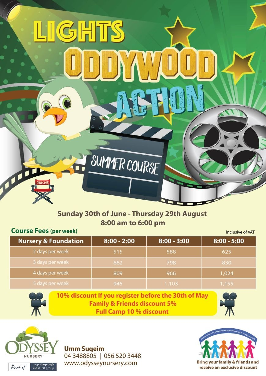 Lights Oddywood Action Summer Course at Odyssey Nursery Umm Suqeim 2 Branch