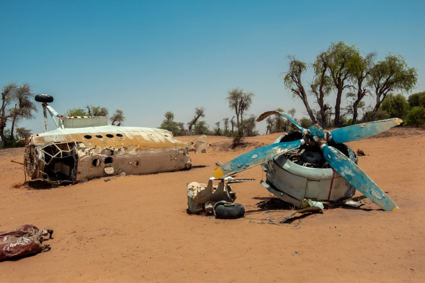 Abandoned plane crash at Al Awir Desert