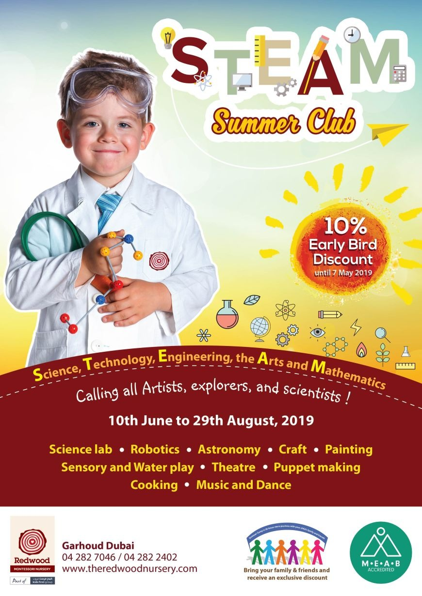 Steam Club summer camp at Redwood Montessori Nursery Garhoud Branch