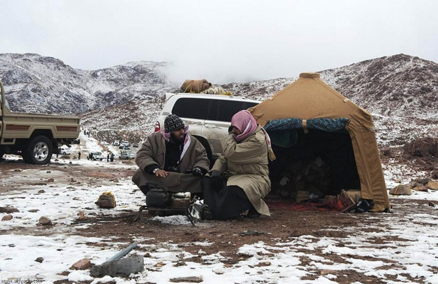 Snow in Tabuk Mountain Saudi Arabia