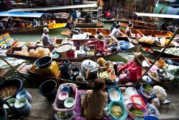 Shop from a vessel at Mekong Delta's floating markets
