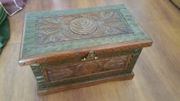 African handmade wooden chest and jewellery box and coasters