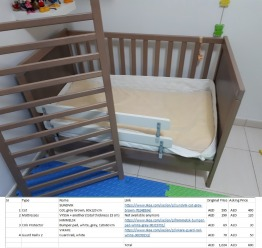 Childrens cot with mattresses
