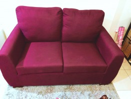 Wine color cossy sofa 2 sittings 2 months new