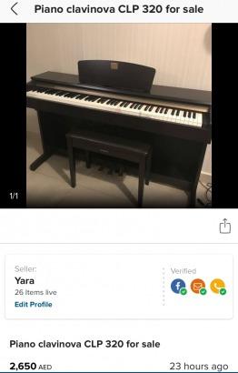 Piano clavinova clp 320 for sale