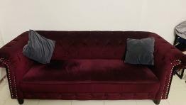 Velvet wine color sofa