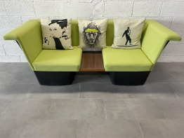Modern two seater Green Wooden Sofa