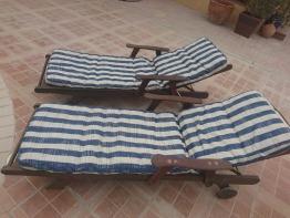 Teak wood sunloungers X 2 + cushions