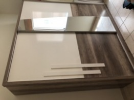 Sliding door wardrobe with mirror for sale at throwaway price