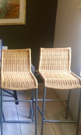 Two cane barstools
