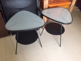 Metal & Glass Pair of Side Tables