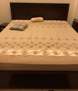 King size bed frame with mattress and 2 storage boxes