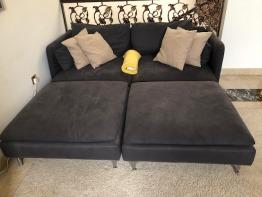 Sofa with 2 footstools