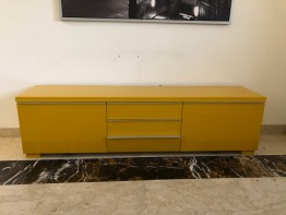 TV chest, yellow lacquered