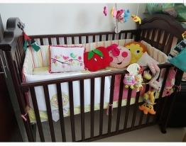 Baby cot with mattress and sheet set ,pillows and musical cot mobile