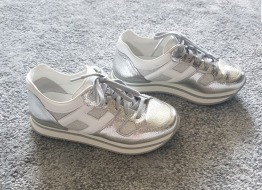 Hogan leather sneakers in silver and white