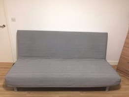 SOFA CUM BED, FULL DOUBLE BED, FROM IKEA, COLOR IS LIGHT GREY, DUBAI